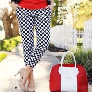 jcrew womens 2 printed skimmer pants blue polka do